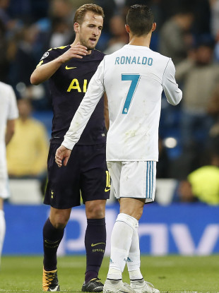 Kane with Cristiano Ronaldo after their recent Champions League meeting.