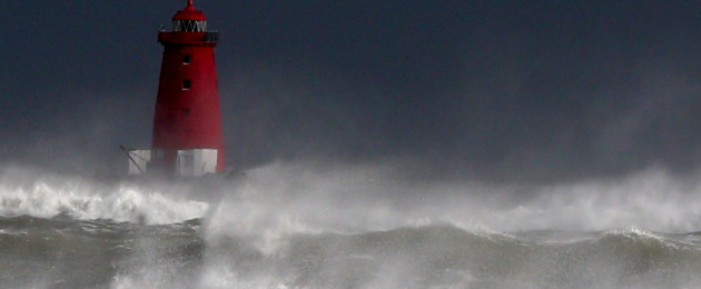 Poolbeg Lighthouse in Dublin this afternoon