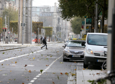 O Connell Street in Dublin as Ex-Hurricane Ophelia batters Ireland.
