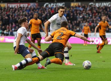 Wolverhampton Wanderers' Matt Doherty wins a penalty.