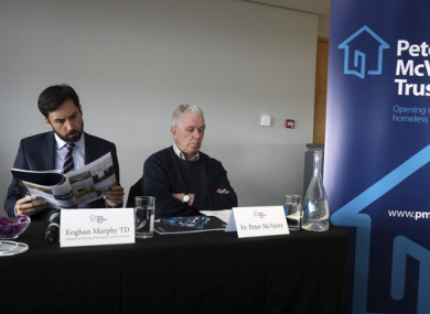 From left to right,:Housing Minister Eoghan Murphy with homelessness campaigner Fr Peter McVerry at the launch of the Peter McVerry Trust's annual report.