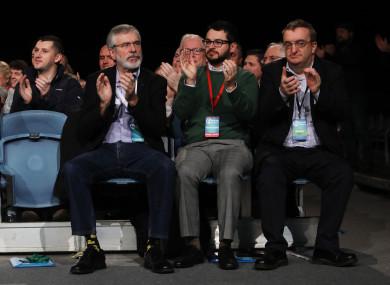 Party President Gerry Adams.Padraig Hegarty and Mícheál MacDonncha, Lord Mayor of Dublin at the Sinn Fein Ard Fheis in the RDS In Dublin