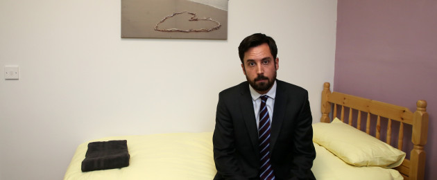 Minister Eoghan Murphy looking pensive as he launched the DHRE's Cold Weather Strategy today