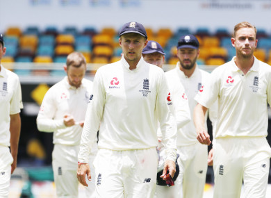 England's Joe Root walks off after defeat during day five of the Ashes Test match at The Gabba, Brisbane.