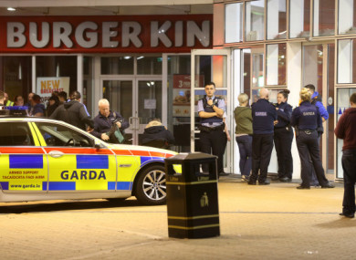 Garda officers at the shopping centre in Blanchardstown.
