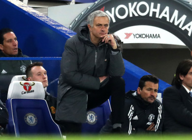 Manchester United manager Jose Mourinho appears dejected on the touchline.