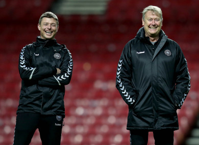 Denmark manager Age Hareide (right) and coach Jon Dahl Tomasson at training this evening.