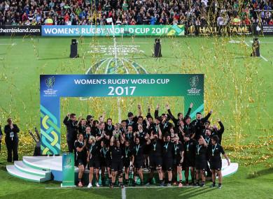New Zealand celebrate their WRWC win.