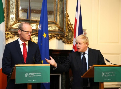 Simon Coveney and Boris Johnson at the Department of Foreign Affairs in Dublin earlier this month.