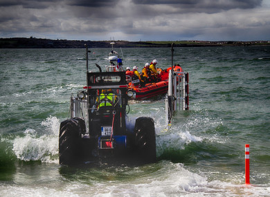 Skerries RNLI Launching their Atlantic 85 lifeboat.