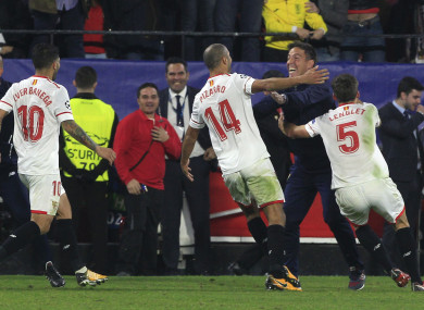 Berizzo celebrates his players after their late equaliser last night.