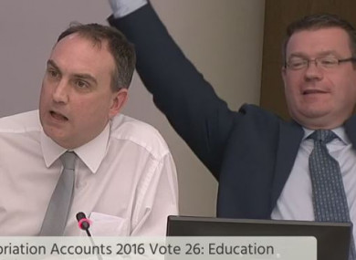 Fianna Fáil's Marc MacSharry asks questions flanked by Alan Kelly
