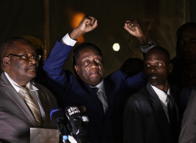 Emmerson Mnangagwa greets supporters