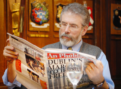 Sinn Fein leader Gerry Adams at the launch of a Dublin special limited edition of An Phoblacht