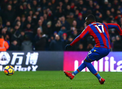 Christian Benteke takes a penalty, unsuccessfully, against Bournemouth