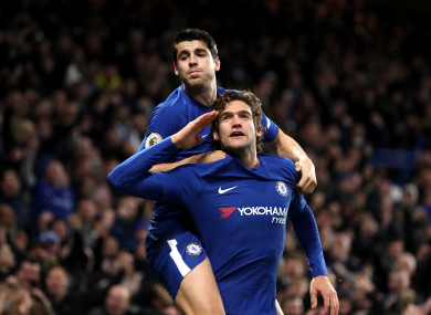 Chelsea's Marcos Alonso celebrates scoring his side's second goal of the game with Alvaro Morata (top.
