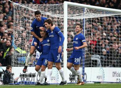Hazard celebrates his second goal at Stamford Bridge.