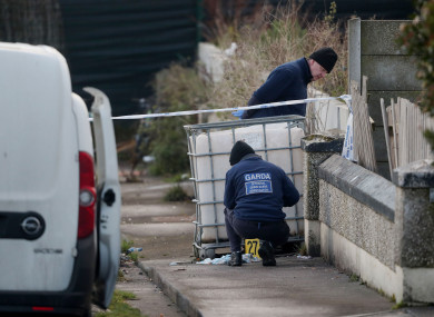 Gardaí at the scene of the shooting.