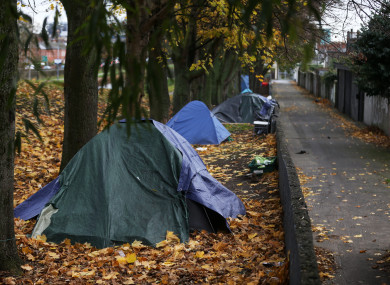 Tents erected by the homeless by Dublin's Royal Canal