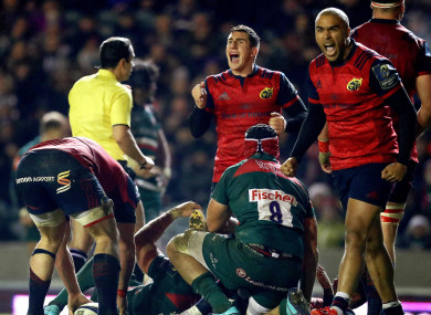 Ian Keatley and Simon Zebo celebrate Munster's win at Leicester.