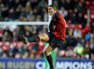 Munster's Ian Keatley kicks a late penalty.
