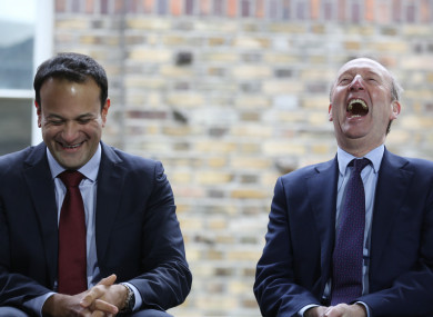 Taoiseach Leo Varadkar and Minister Shane Ross at an event earlier this month - not when they heard the good news about the poll.