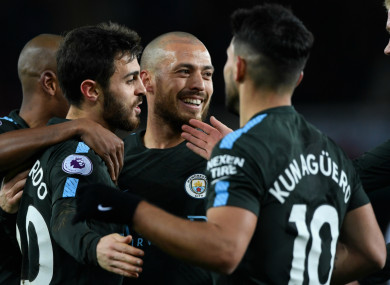 Manchester City celebrate their record-breaking victory