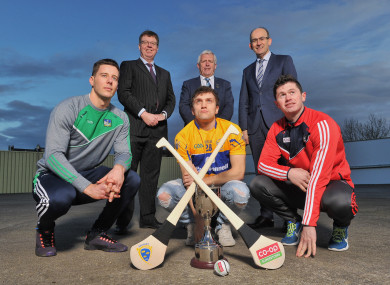 Dan Morrissey (Limerick), Shane O'Donnell (Clare) and Seamus Harnedy (Cork) at the launch.