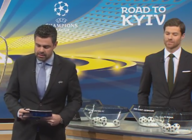 Pedro Pinto and Xabi Alonso during the draw.