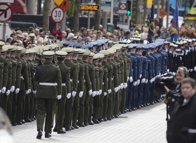Air Corp and Navy members of the Captains Guard of Honour at the GPO