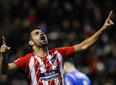 Costa celebrates his goal this evening.
