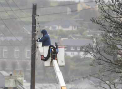 ESB crews restore power in Kinsale, Co Cork, after Hurricane Ophelia hit in October last year.