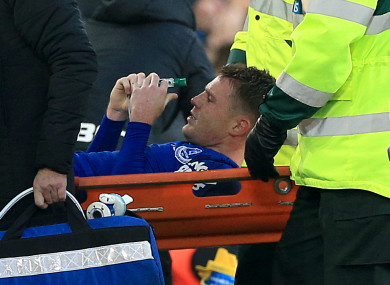 James McCarthy pictured as he is stretchered off during today's game.
