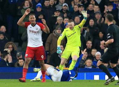 West Bromwich Albion's Salomon Rondon looks upset after his attempted shot resulted in a bad injury for Everton's James McCarthy.