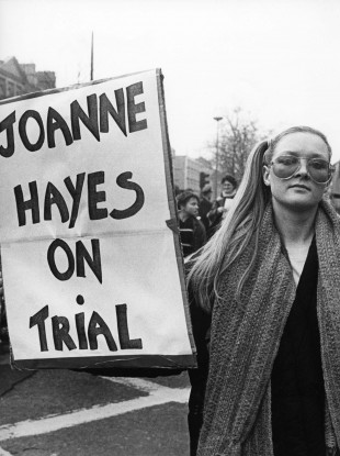 A woman protests during the Kerry Babies Tribunal.