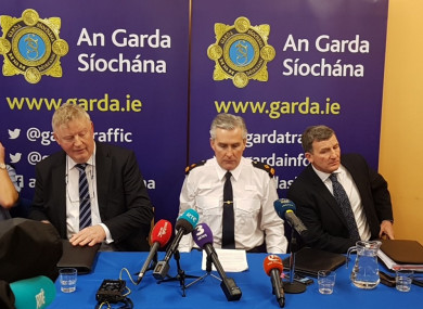 Gardaí at the press conference in Cahersiveen this afternoon