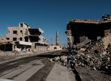 Damaged town of Qaraqosh, Iraq