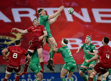 James Cannon claims a lineout against Munster.