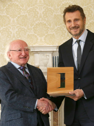 There's Liam getting his award from Michael D today.