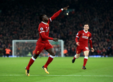 Sadio Mane celebrates his goal against Man City.