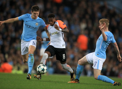 Fred facing John Stones and Kevin De Bruyne of Man City earlier this season.