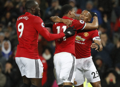 Manchester United's Antonio Valencia (right) celebrates scoring his side's first goal of the game.