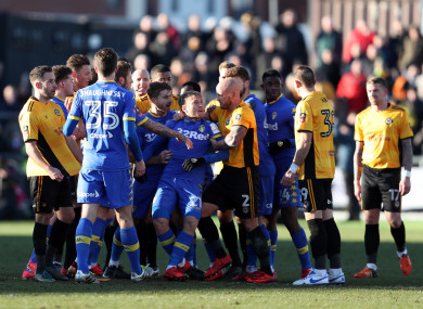 The incident sparked a melee between both sets of players in injury time.