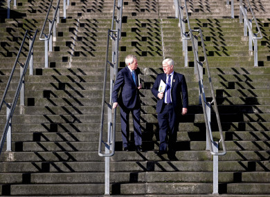 Duffy, left, with GAA President Aogán Ó Fearghail: search for the next DG continues.