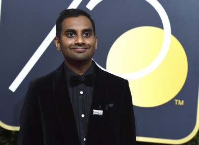 Ansari wore a Time's Up pin at the Golden Globe awards.