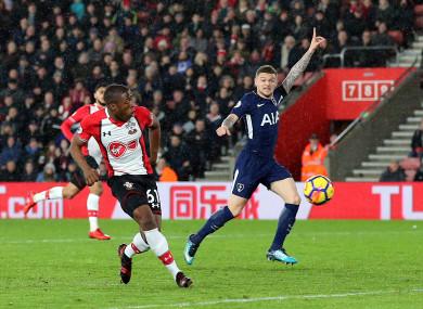 Southampton's Michael Obafemi shoots at goal.