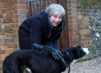 Theresa May meets a dog called blitz in her constituency.