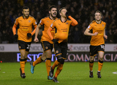 Barry Douglas celebrates giving Wolves a 2-0 lead at Molineux on Tuesday.