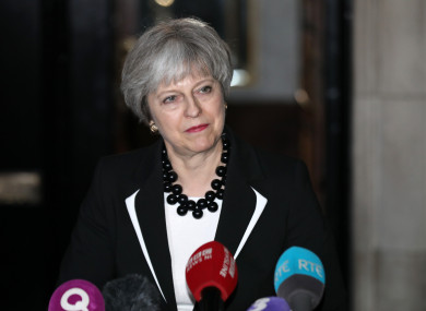 British Prime Minister Theresa May speaking to the media at Stormont Parliament