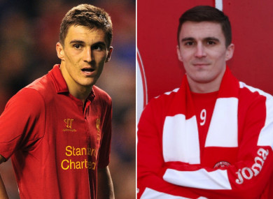 Adam Morgan pictured in Europa League action for Liverpool against Hearts in 2012, and after his move to Sligo Rovers was announced last month.
